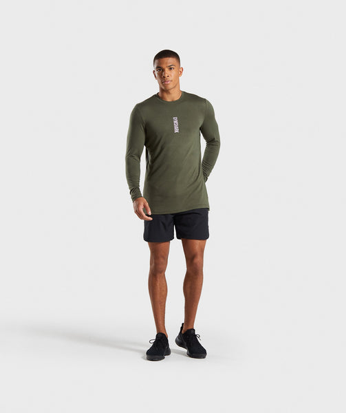 Gymshark Shadow Long Sleeve T-Shirt - Dark Green 2