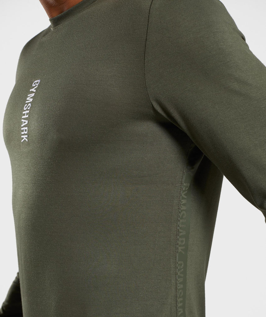 Gymshark Shadow Long Sleeve T-Shirt - Dark Green 5