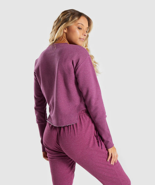 Gymshark Slounge Crescent Sweater - Dark Ruby Marl 1