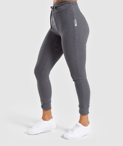 Gymshark Slounge Ribbon Bottoms - Charcoal Marl 2
