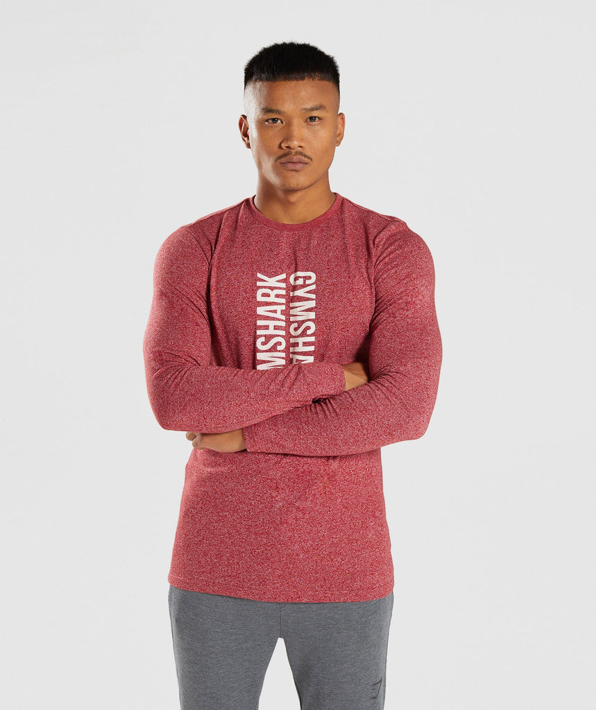 Gymshark Statement Long Sleeve T-Shirt - Red Marl 4