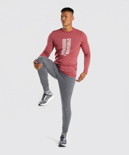 Gymshark Statement Long Sleeve T-Shirt - Red Marl 3