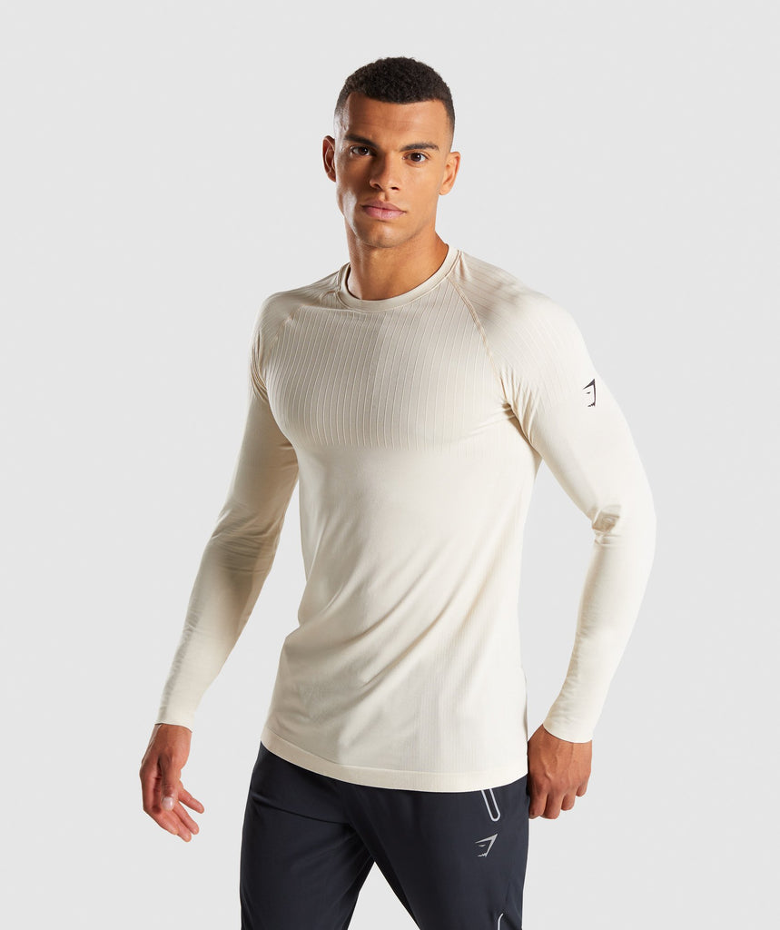 Gymshark Superior Lightweight Seamless Long Sleeve T-Shirt - Warm Beige 1