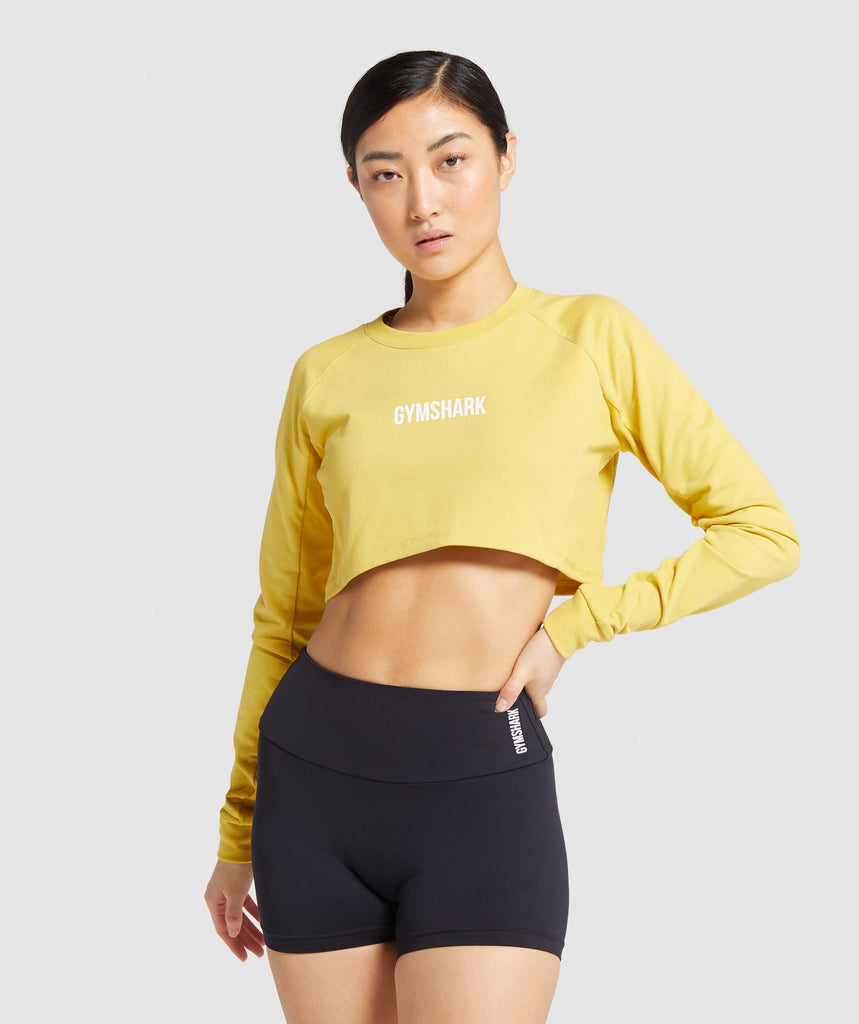 Gymshark Training Cropped Sweater - Yellow 1