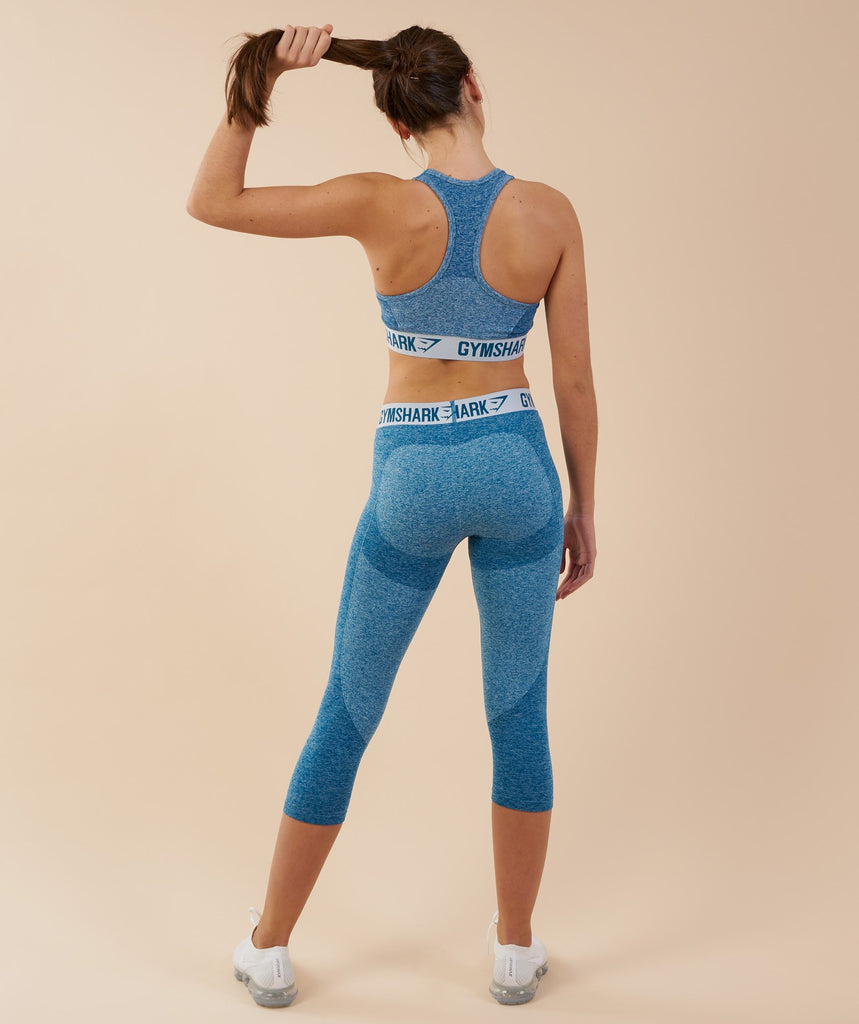 Gymshark Flex Cropped Leggings - Deep Teal/Ice Blue 2