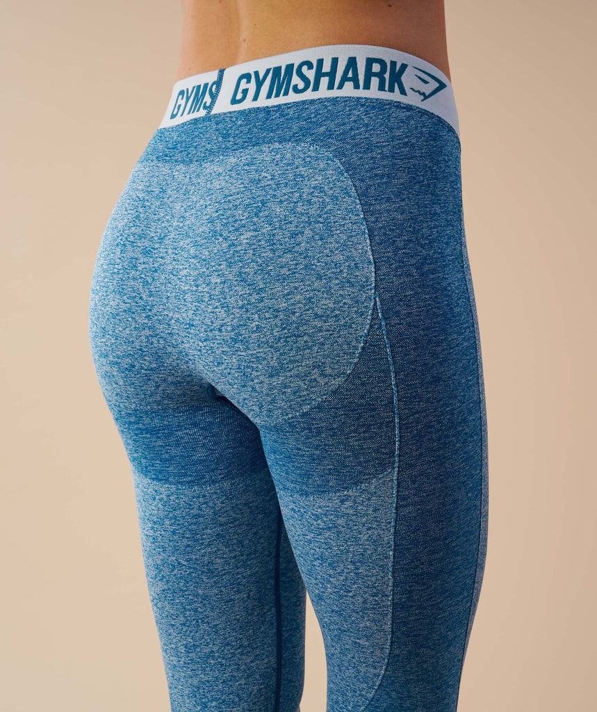 Gymshark Flex Cropped Leggings - Deep Teal/Ice Blue 6
