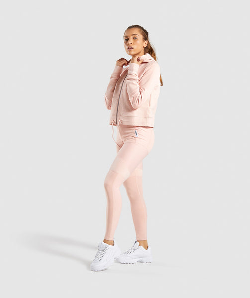 Gymshark True Texture Hooded Bomber Jacket - Blush Nude 3