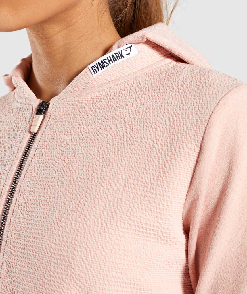 Gymshark True Texture Hooded Bomber Jacket - Blush Nude 5
