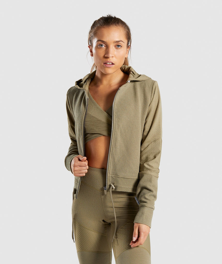 Gymshark True Texture Hooded Bomber Jacket - Washed Khaki 1