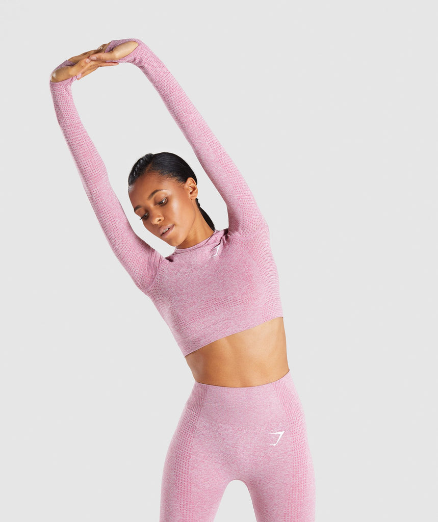 Gymshark Vital Seamless Long Sleeve Crop Top - Dusky Pink Marl 1