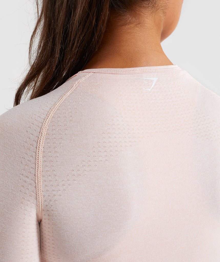 Blush Nude Marl Vital Seamless Long Sleeve T-Shirt Logo From Behind 6