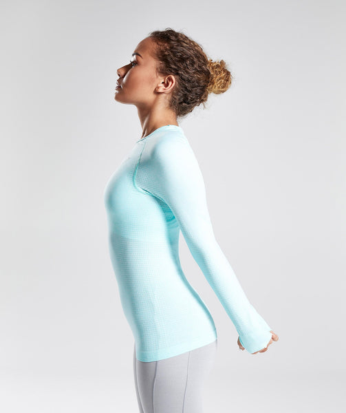 Gymshark Seamless Long Sleeve Top - Pale Turquoise Marl 1