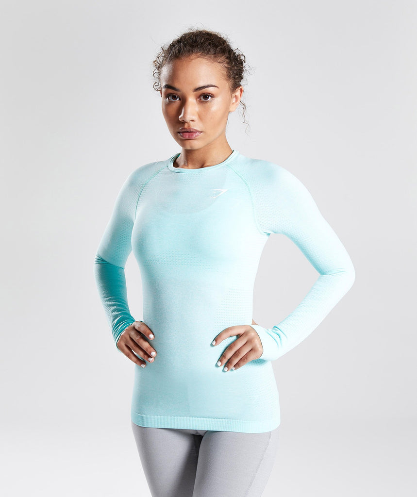 Gymshark Seamless Long Sleeve Top - Pale Turquoise Marl 4