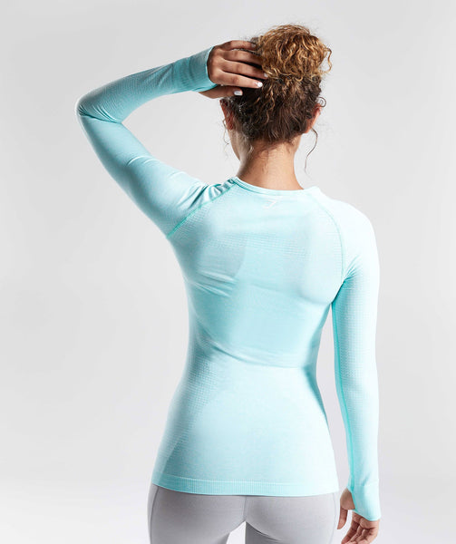 Gymshark Seamless Long Sleeve Top - Pale Turquoise Marl 2