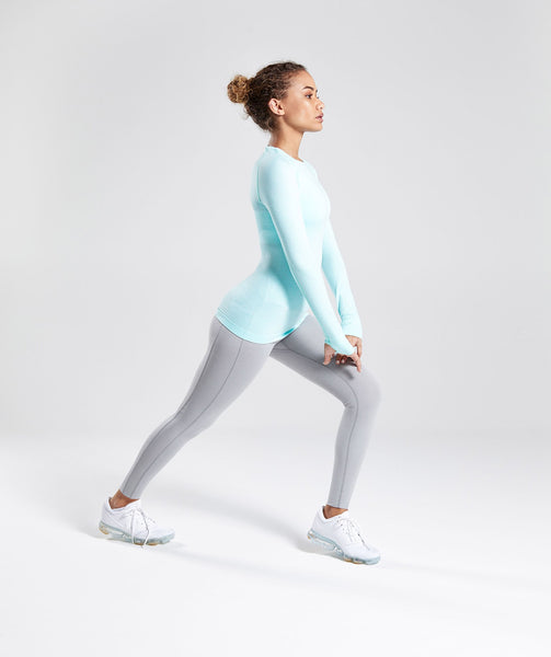 Gymshark Seamless Long Sleeve Top - Pale Turquoise Marl 3