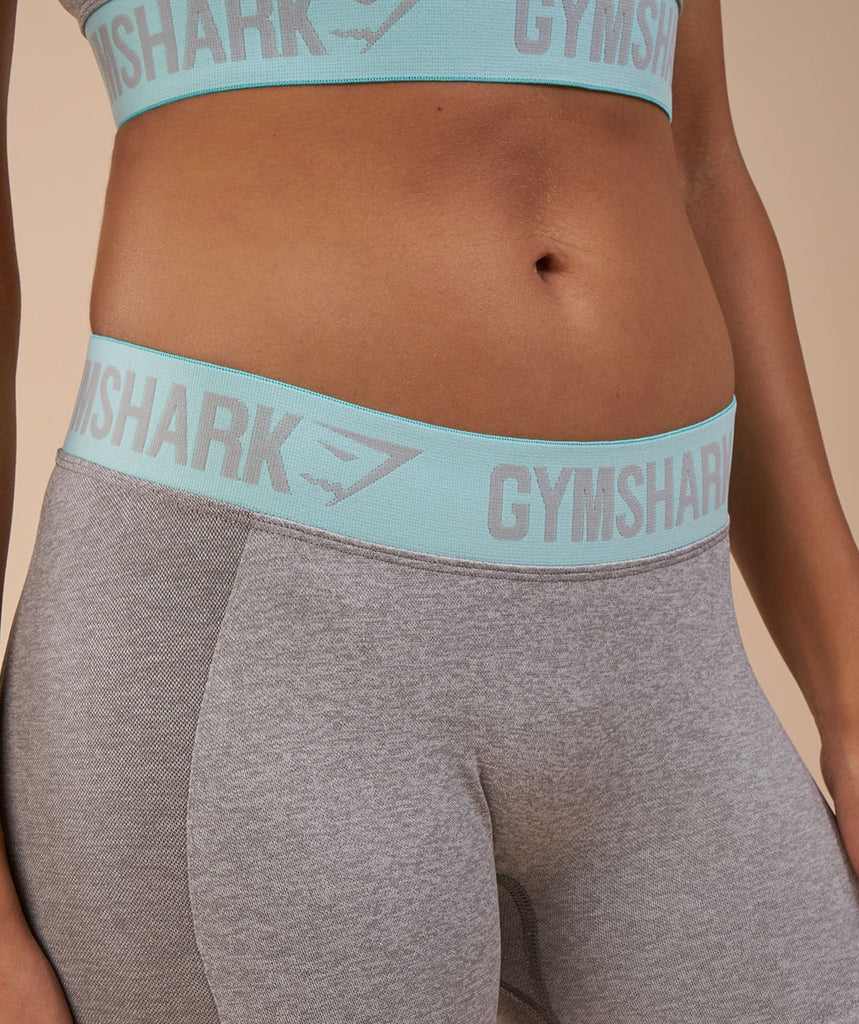 Gymshark Flex Leggings - Light Grey Marl/Pale Turquoise 5