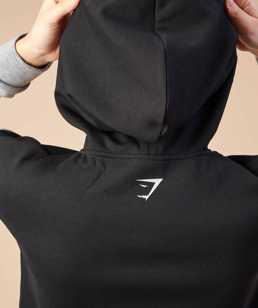 Gymshark Two Tone Cropped Hoodie - Black/Light Grey Marl 4