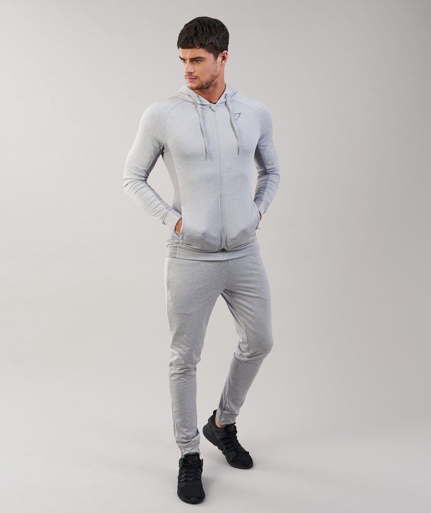 Gymshark Fallout Zip Hoodie - Light Grey Marl 1