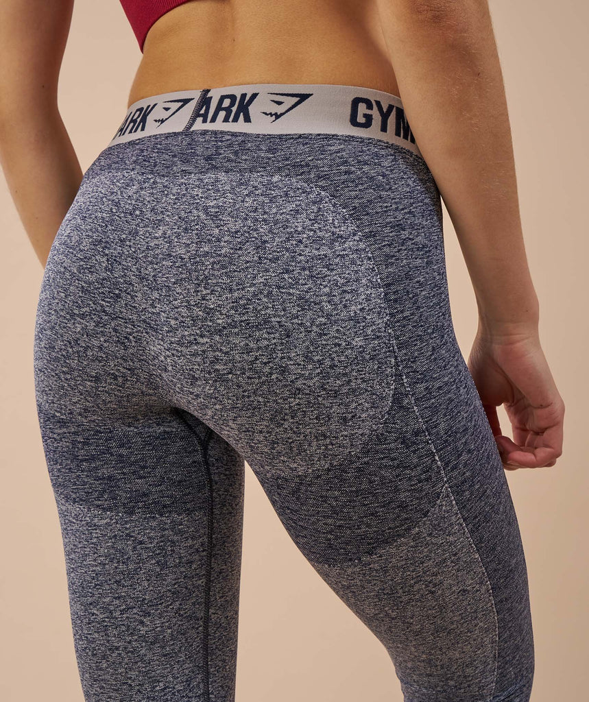 Gymshark Flex Leggings - Sapphire Blue Marl/Light Grey 6
