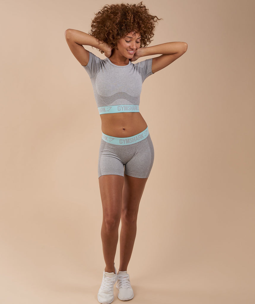 Gymshark Flex Crop Top - Light Grey Marl/Pale Turquoise 1