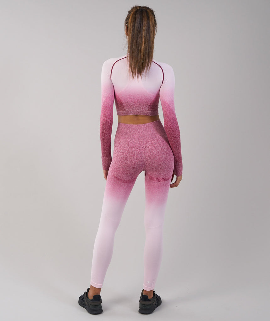 Gymshark Ombre Seamless Crop Top - Chalk Pink/Beet