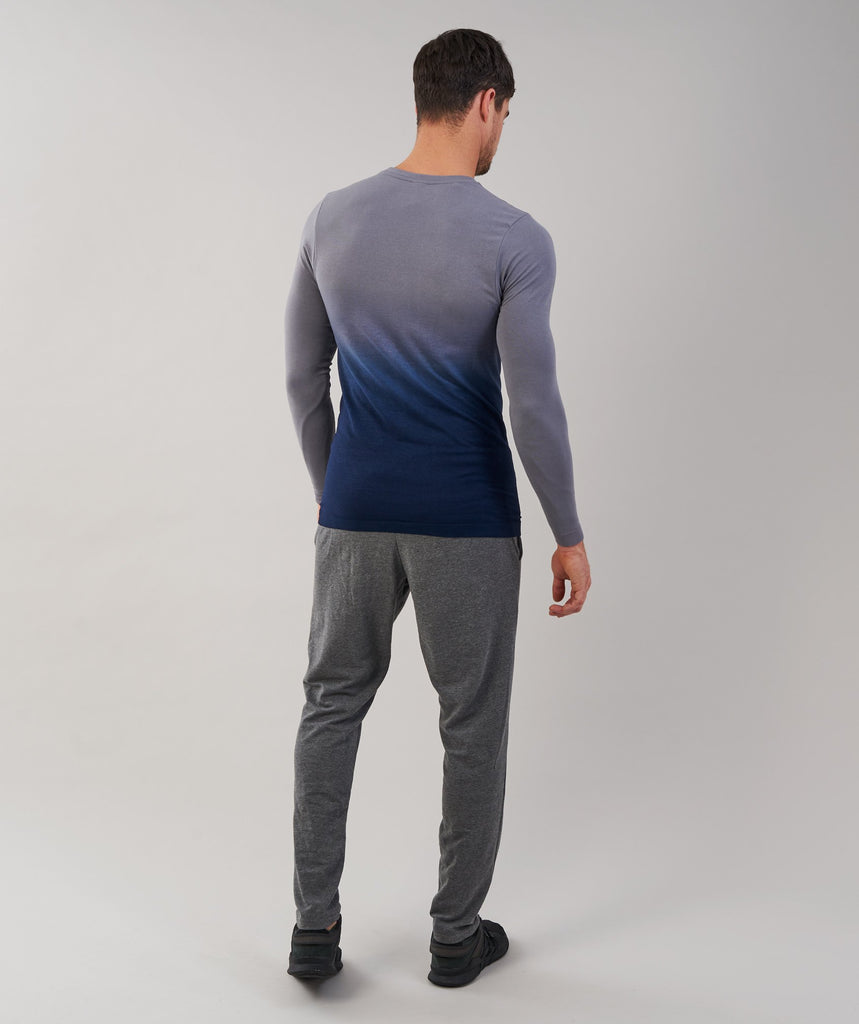 Gymshark Ombre Long Sleeve T-Shirt - Light Grey/Sapphire Blue
