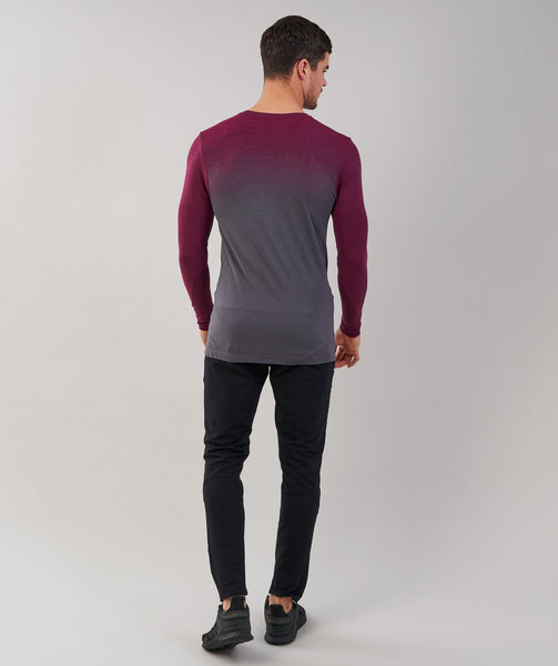 Gymshark Ombre Long Sleeve T-Shirt - Port/Charcoal 1