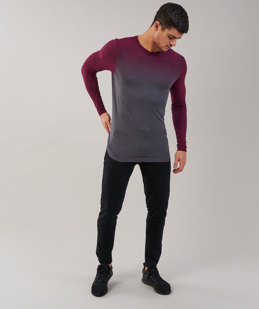 Gymshark Ombre Long Sleeve T-Shirt - Port/Charcoal