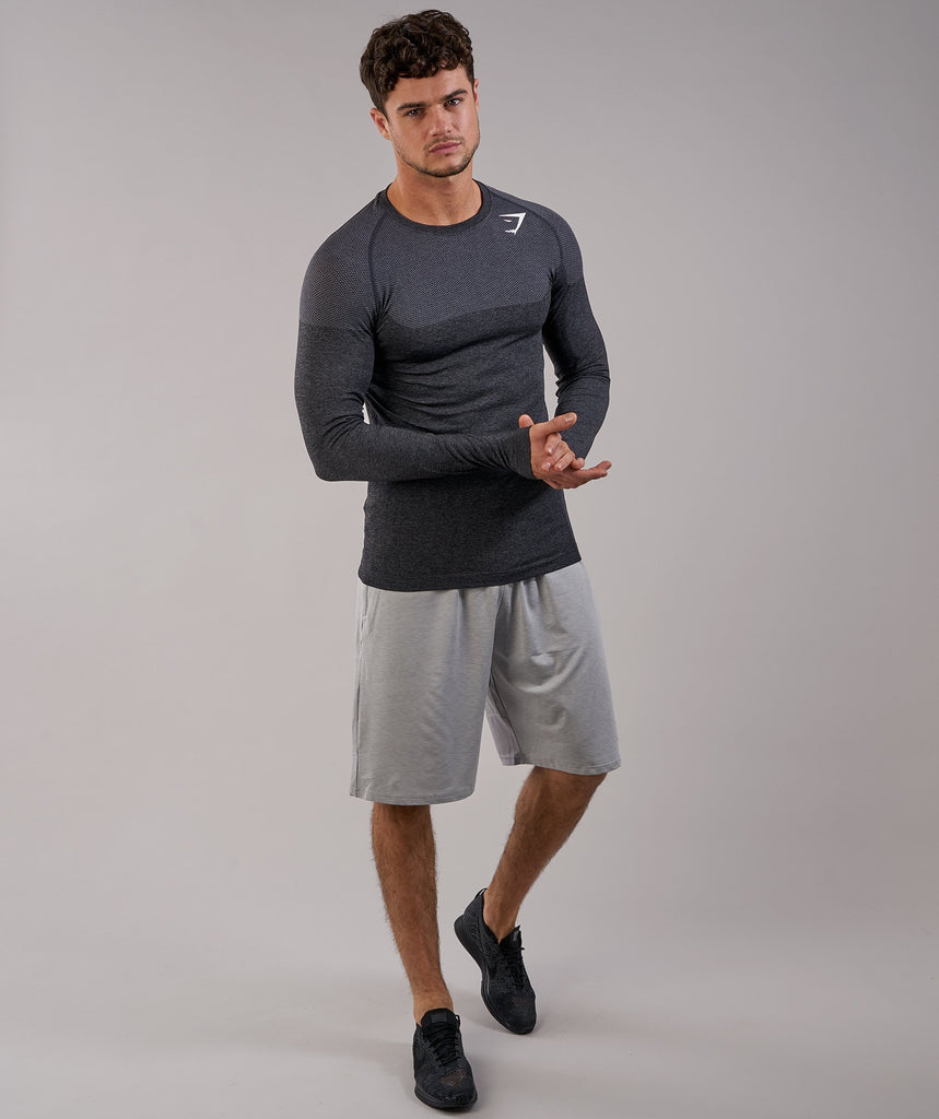 Gymshark Phantom Seamless Long Sleeve T-Shirt - Black Marl 6