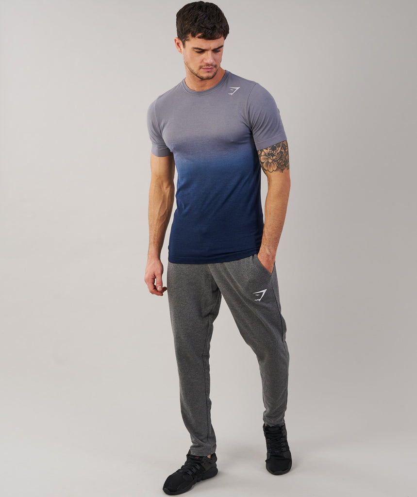 Gymshark Ombre T-Shirt - Light Grey/Sapphire Blue