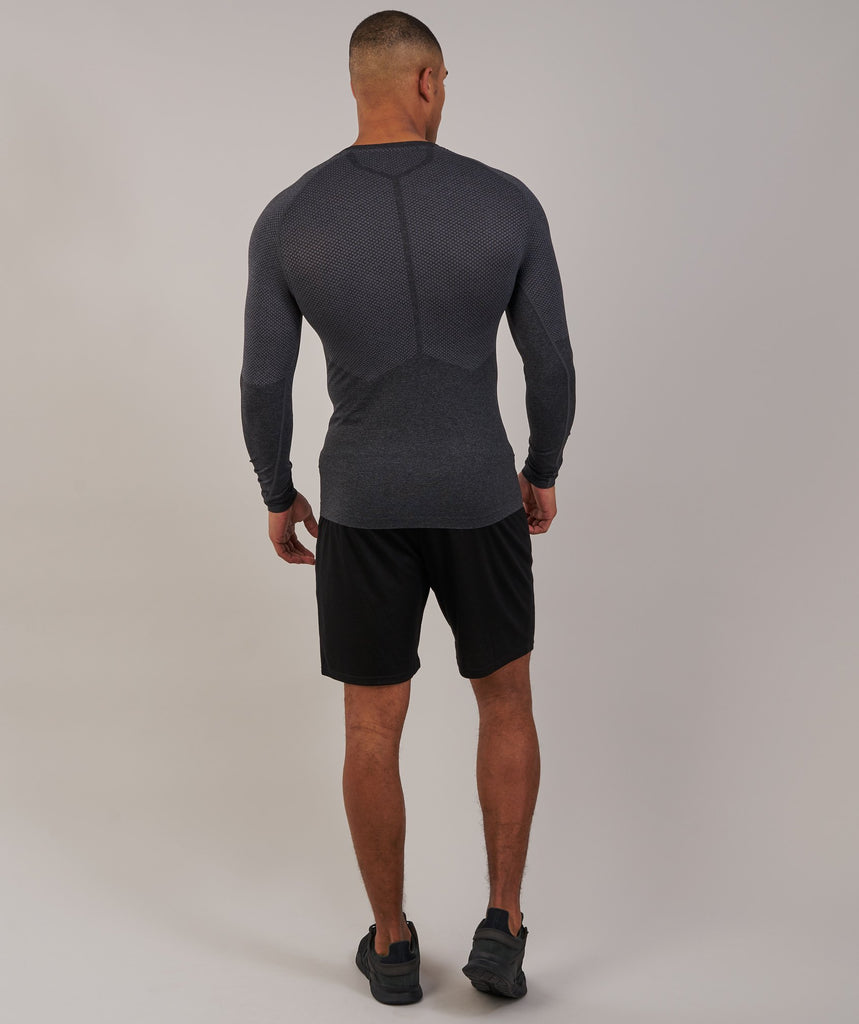 Gymshark Performance Seamless Long Sleeve T-Shirt - Black Marl