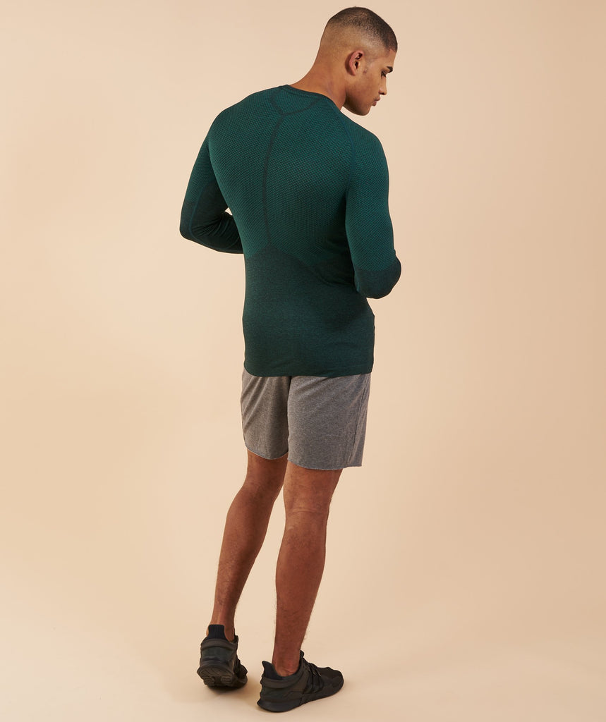 Gymshark Performance Seamless Long Sleeve T-Shirt - Forest Green Marl