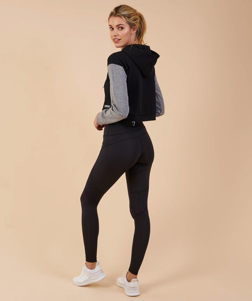 Gymshark Two Tone Cropped Hoodie - Black/Light Grey Marl 2