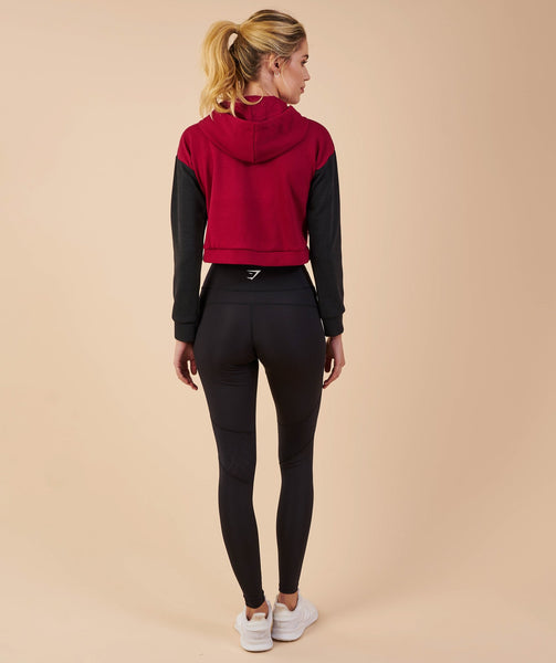 Gymshark Two Tone Cropped Hoodie - Beet/Black Marl 1
