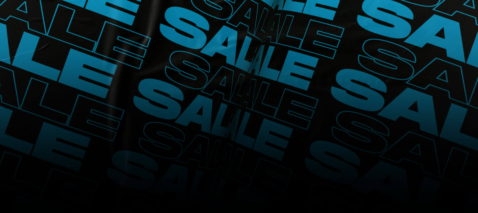 A generic sale banner with repeated text of sale. Black background with blue text.