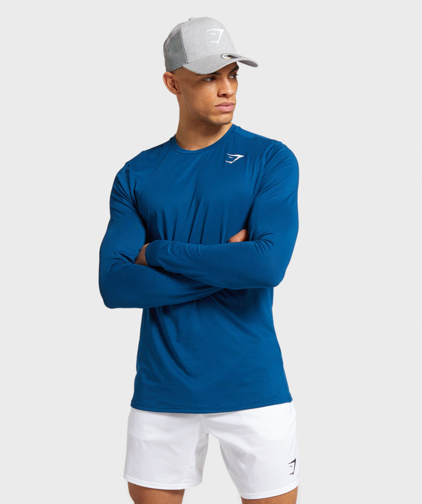 Gymshark Arrival Long Sleeve T-Shirt - Petrol Blue 1