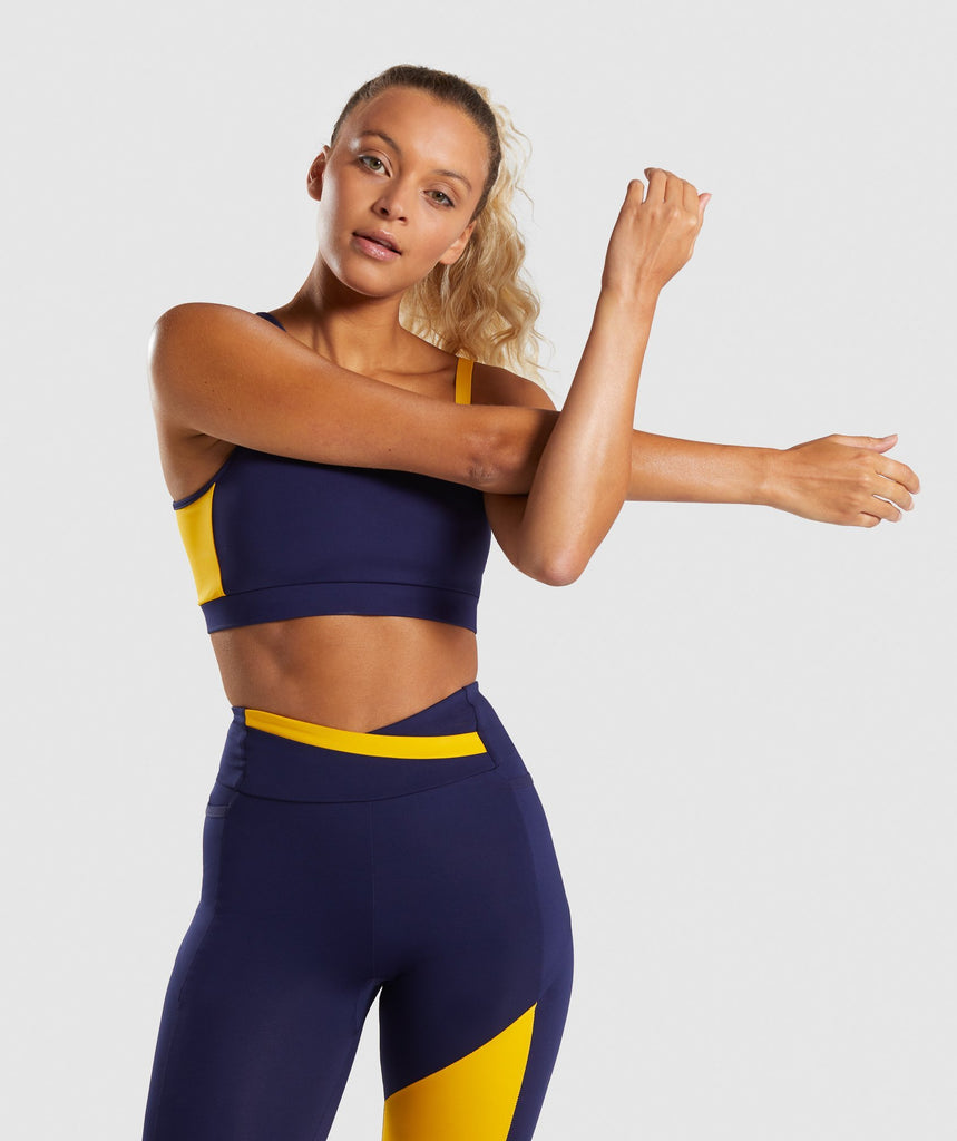 Gymshark Asymmetric Sports Bra - Evening Navy Blue/Citrus Yellow 1