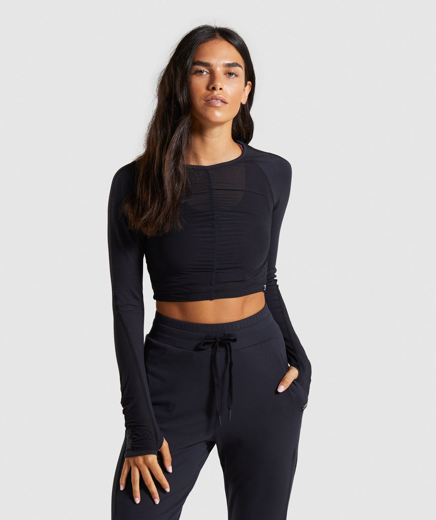 Gymshark Aura Crop Top - Black 1