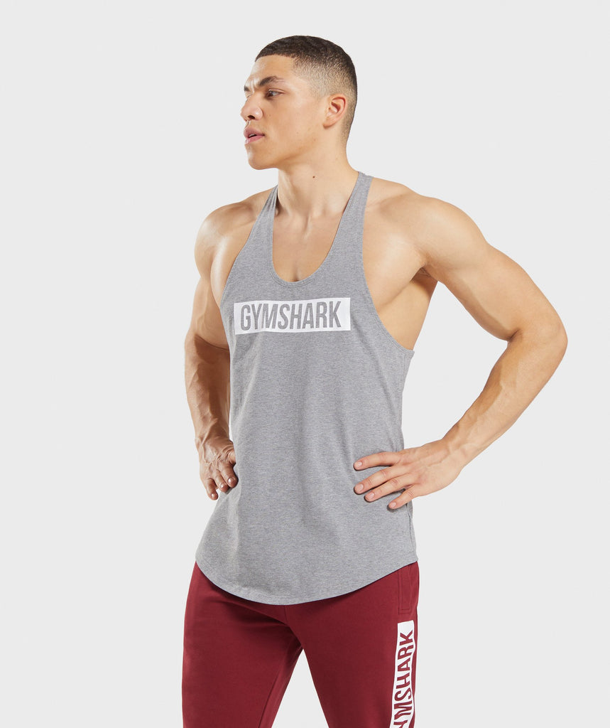 Gymshark Block Stringer - Grey Marl/White 1