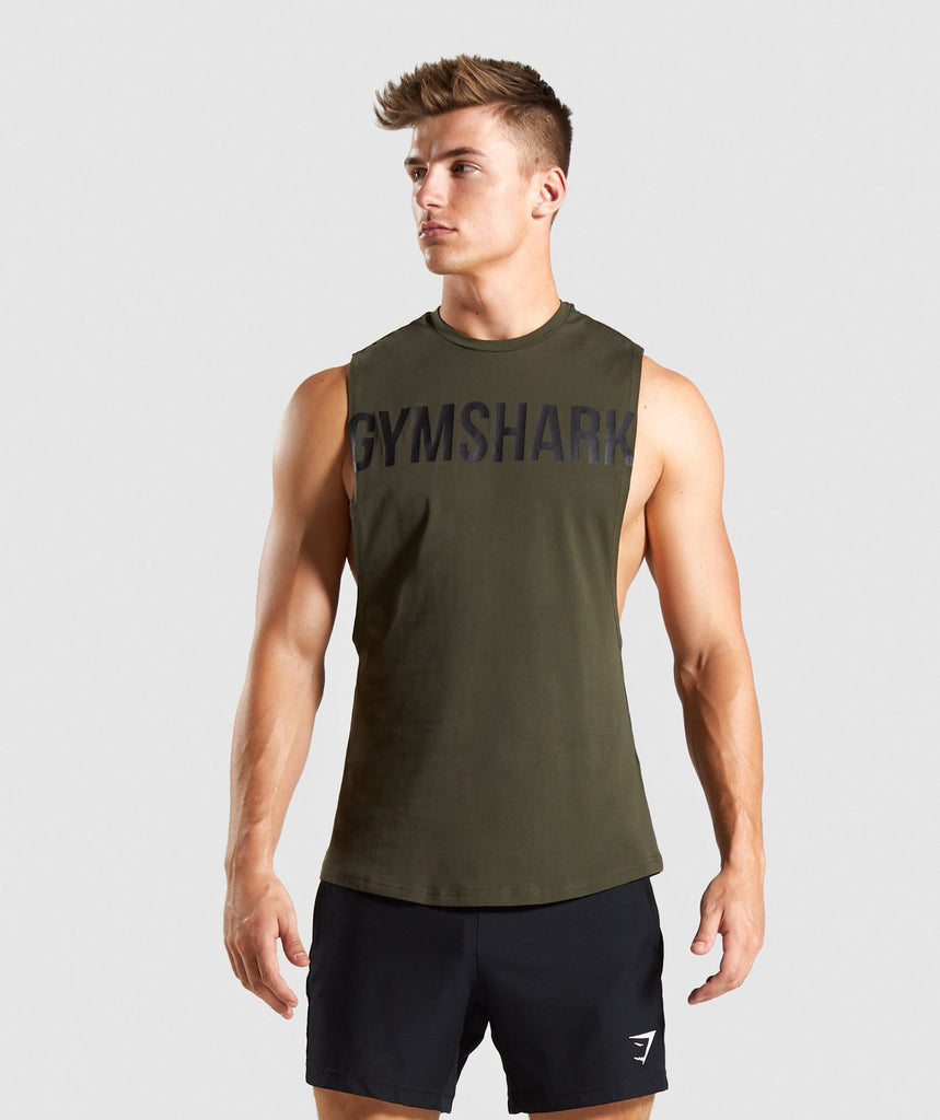 Gymshark Bold Graphic Drop Armhole Tank - Dark Green 1