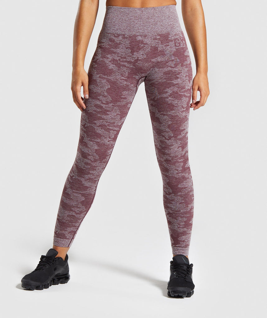 Gymshark Camo Seamless Leggings - Berry Red 1