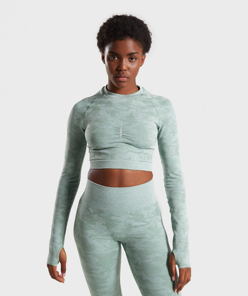 Gymshark Camo Seamless Long Sleeve Crop Top - Sage Green 1