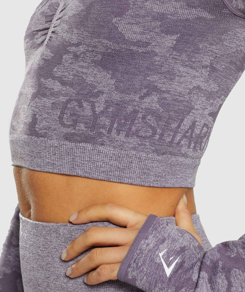 Gymshark Camo Seamless Long Sleeve Crop Top - Lavender Grey 5