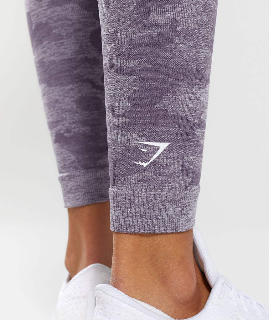 Gymshark Camo Seamless Leggings - Lavender Grey 6
