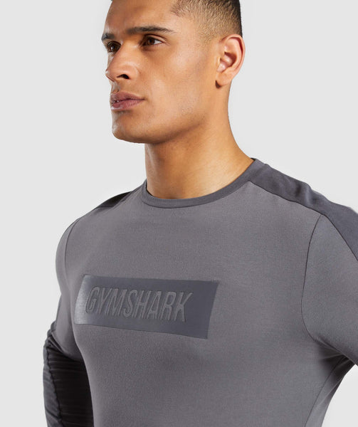 Gymshark Colour Block Central Logo Long Sleeve T-Shirt - Charcoal 4