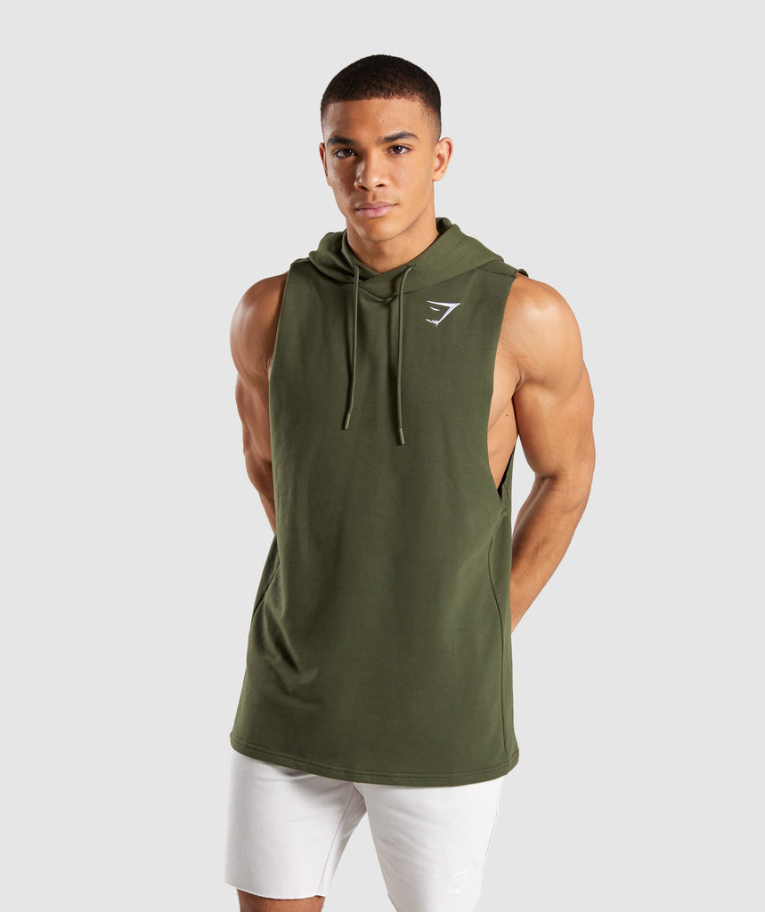 Gymshark Critical Drop Armhole Hoodie - Green 1