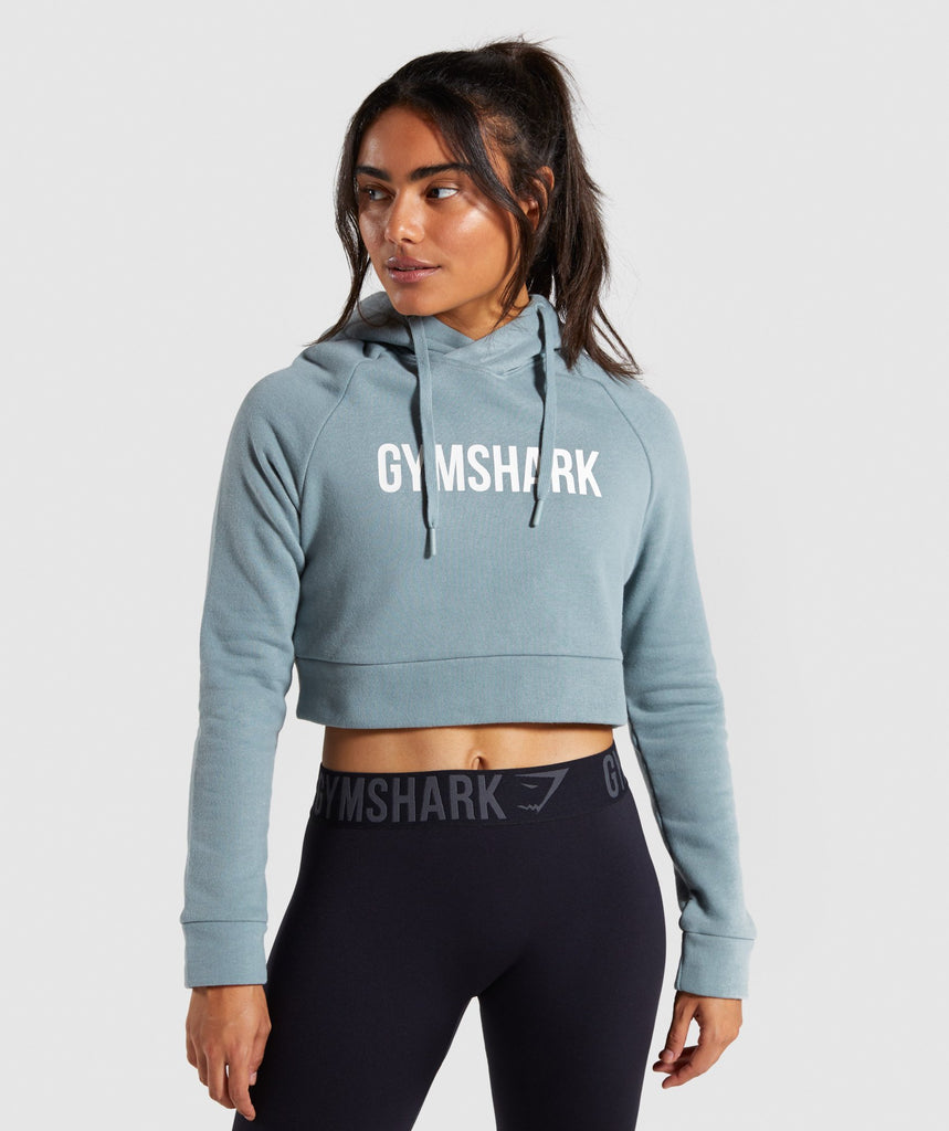 Gymshark Cropped Crest Hoodie - Turquoise 1