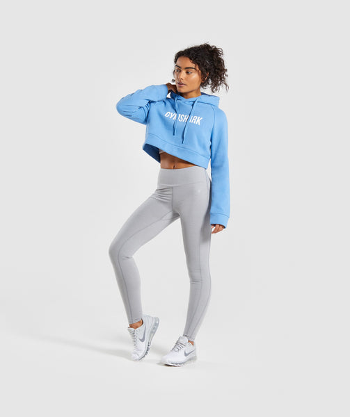 Gymshark Cropped Crest Hoodie - Blue 3