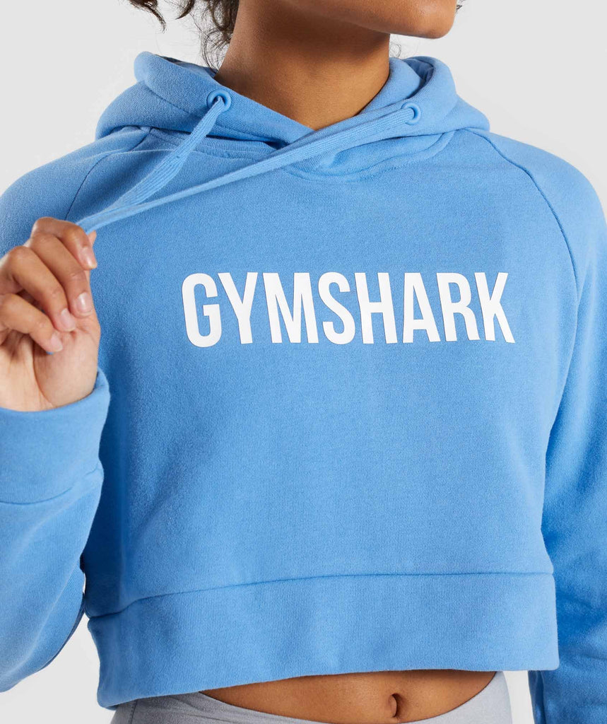 Gymshark Cropped Crest Hoodie - Blue 5