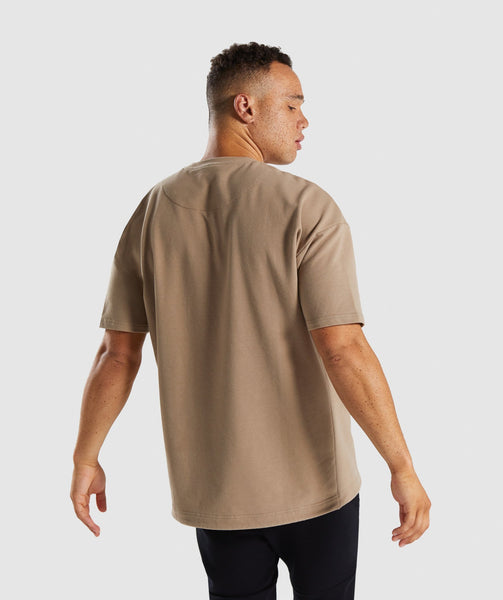 Gymshark Drawcord Sweat T-Shirt - Driftwood Brown 1